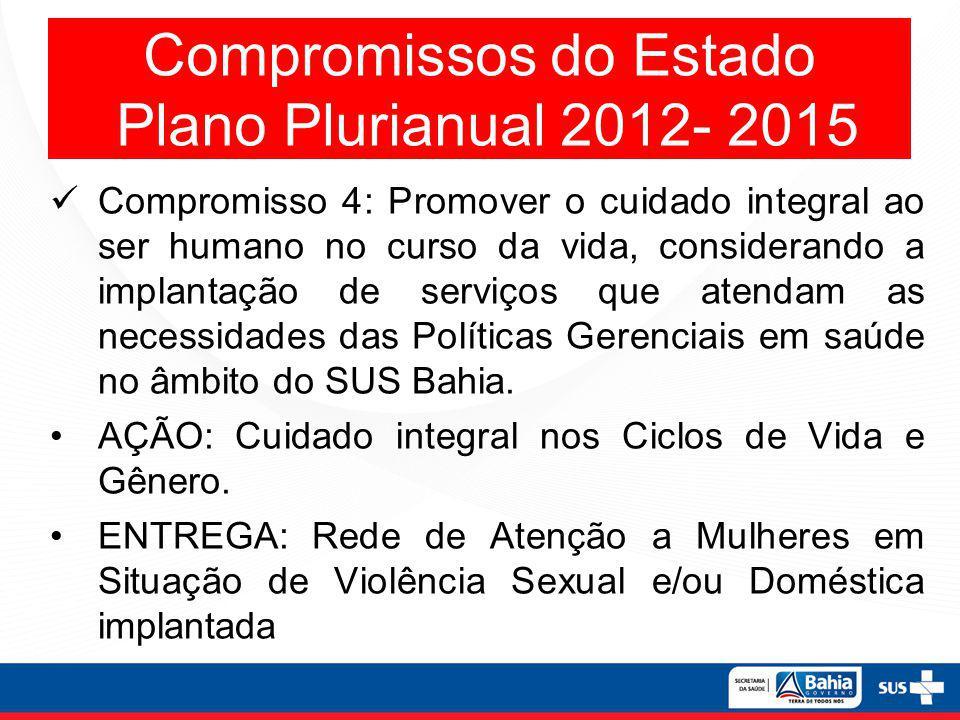 Compromissos do Estado Plano Plurianual 2012- 2015 Compromisso 4: Promover o cuidado integral ao ser humano no curso da vida, considerando a implantaç