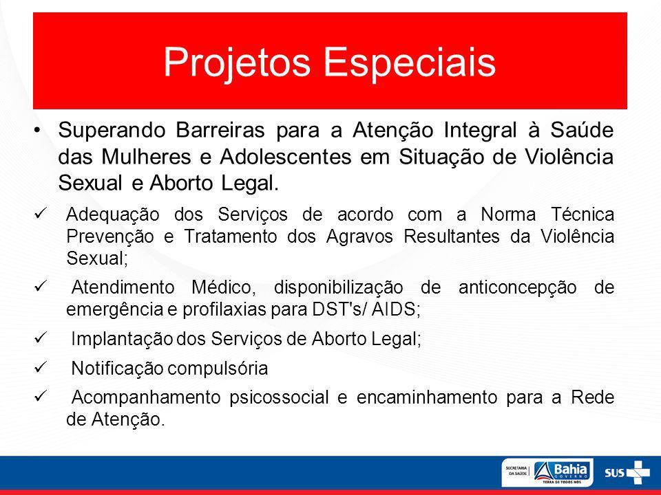 Projetos Especiais Superando Barreiras para a Atenção Integral à Saúde das Mulheres e Adolescentes em Situação de Violência Sexual e Aborto Legal.