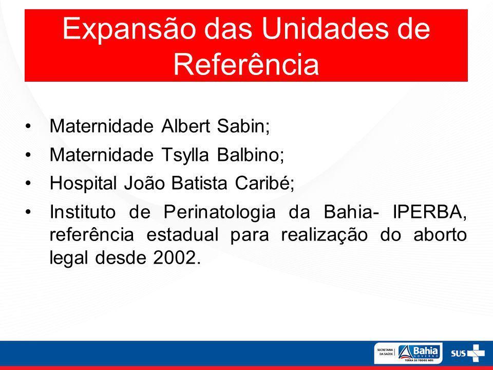 Expansão das Unidades de Referência Maternidade Albert Sabin; Maternidade Tsylla Balbino; Hospital João Batista Caribé; Instituto de Perinatologia da