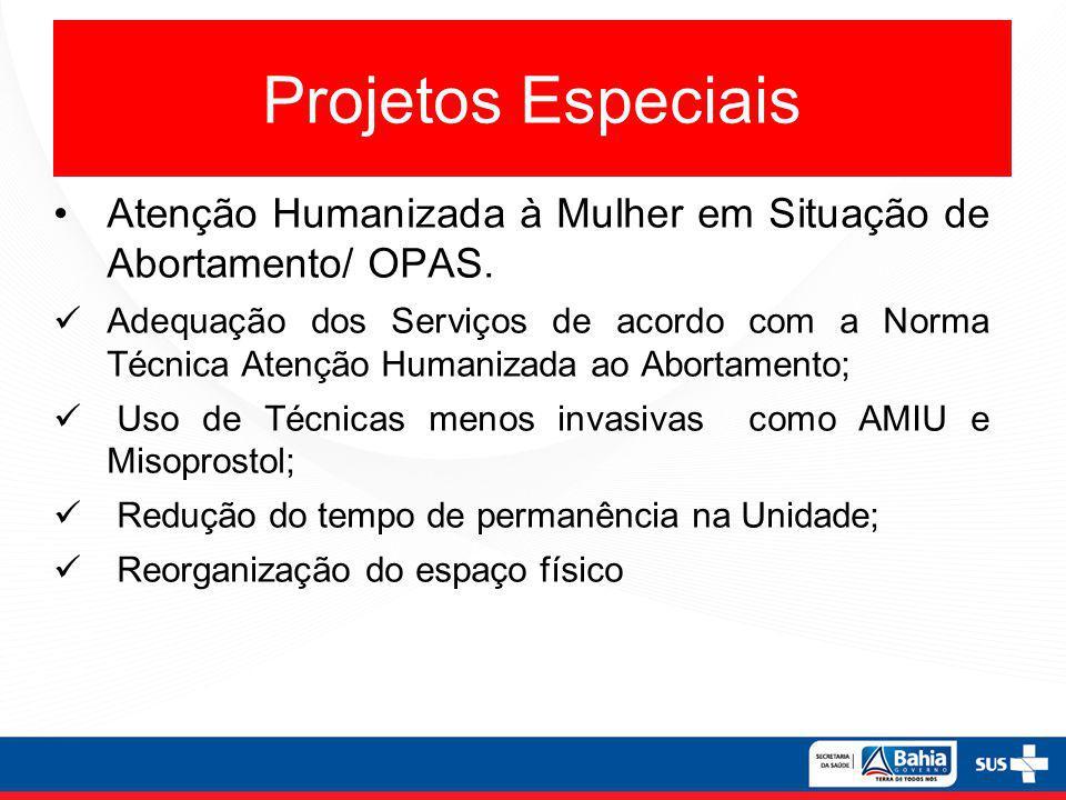 Projetos Especiais Atenção Humanizada à Mulher em Situação de Abortamento/ OPAS. Adequação dos Serviços de acordo com a Norma Técnica Atenção Humaniza