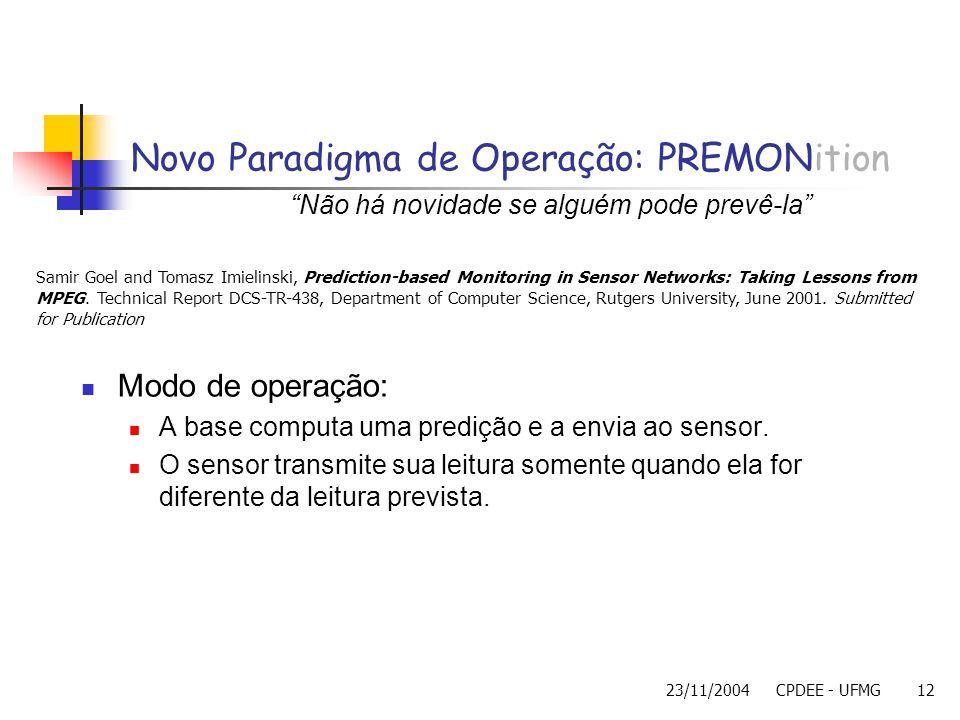 23/11/2004CPDEE - UFMG12 Novo Paradigma de Operação: PREMONition Modo de operação: A base computa uma predição e a envia ao sensor. O sensor transmite