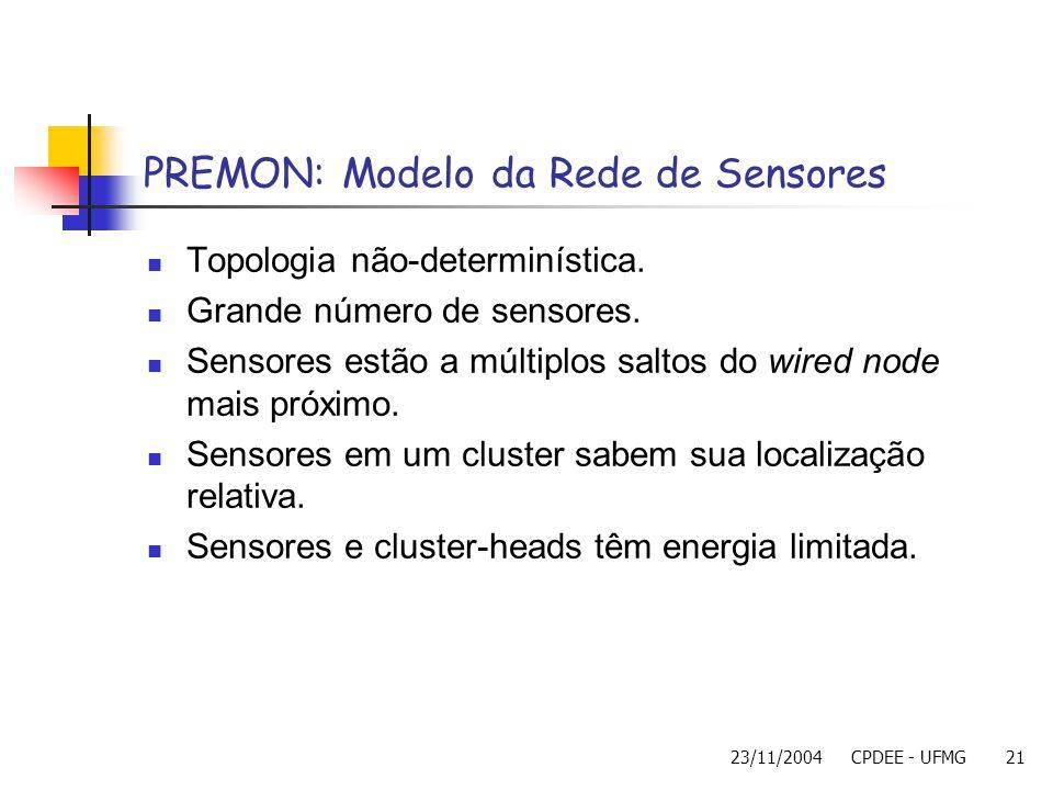 23/11/2004CPDEE - UFMG21 PREMON: Modelo da Rede de Sensores Topologia não-determinística. Grande número de sensores. Sensores estão a múltiplos saltos
