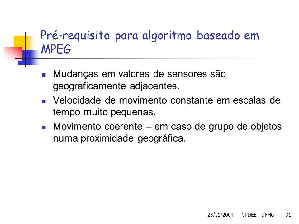 23/11/2004CPDEE - UFMG31 Pré-requisito para algoritmo baseado em MPEG Mudanças em valores de sensores são geograficamente adjacentes. Velocidade de mo