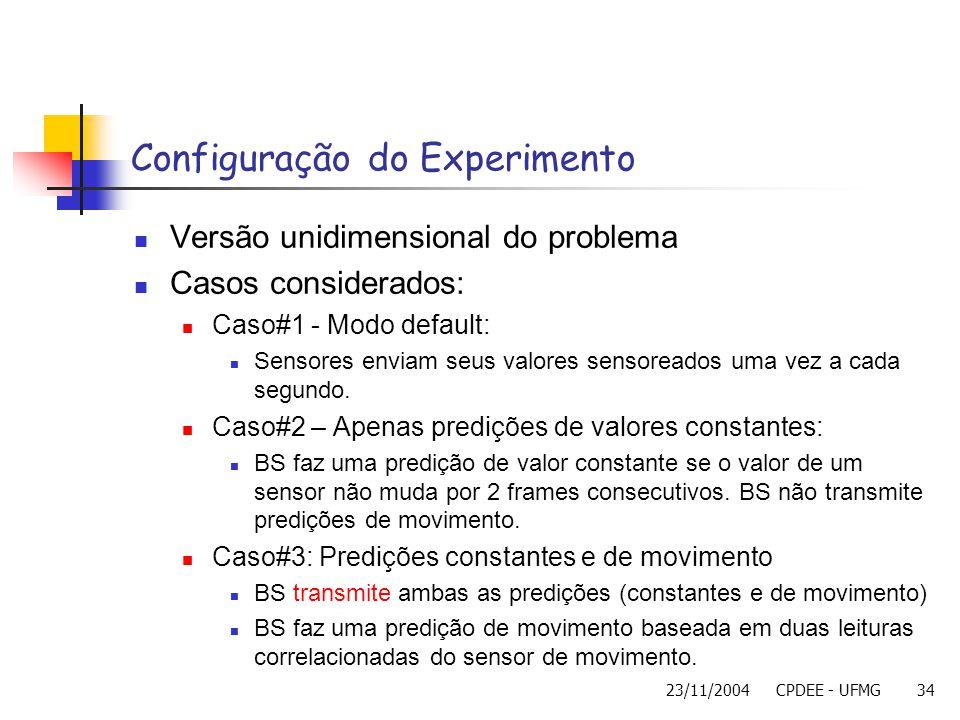 23/11/2004CPDEE - UFMG34 Configuração do Experimento Versão unidimensional do problema Casos considerados: Caso#1 - Modo default: Sensores enviam seus