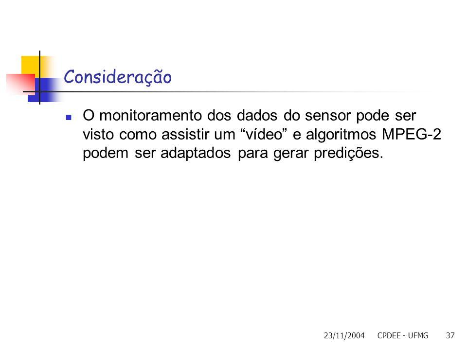 23/11/2004CPDEE - UFMG37 Consideração O monitoramento dos dados do sensor pode ser visto como assistir um vídeo e algoritmos MPEG-2 podem ser adaptado