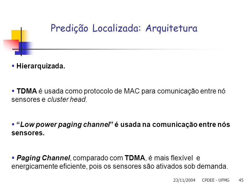 23/11/2004CPDEE - UFMG45 Predição Localizada: Arquitetura Hierarquizada. TDMA é usada como protocolo de MAC para comunicação entre nó sensores e clust