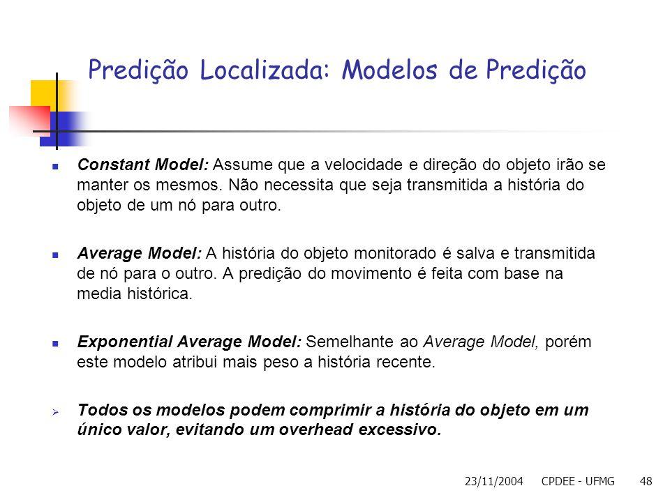 23/11/2004CPDEE - UFMG48 Constant Model: Assume que a velocidade e direção do objeto irão se manter os mesmos. Não necessita que seja transmitida a hi