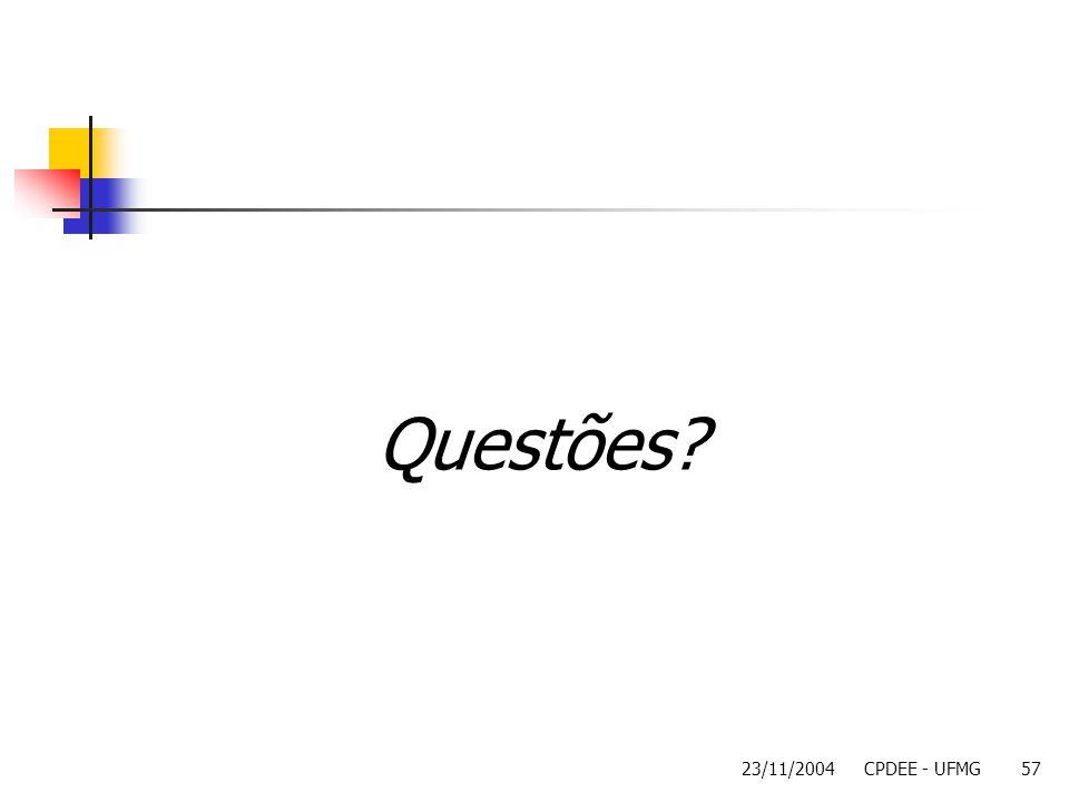 23/11/2004CPDEE - UFMG57 Questões?