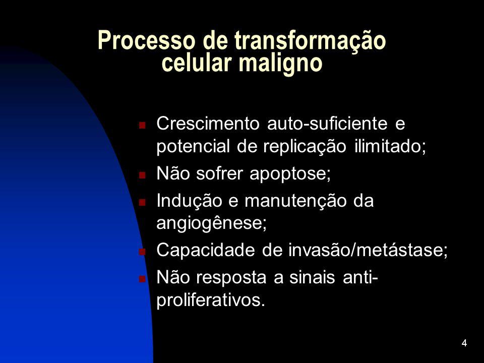 4 Processo de transformação celular maligno Crescimento auto-suficiente e potencial de replicação ilimitado; Não sofrer apoptose; Indução e manutenção da angiogênese; Capacidade de invasão/metástase; Não resposta a sinais anti- proliferativos.