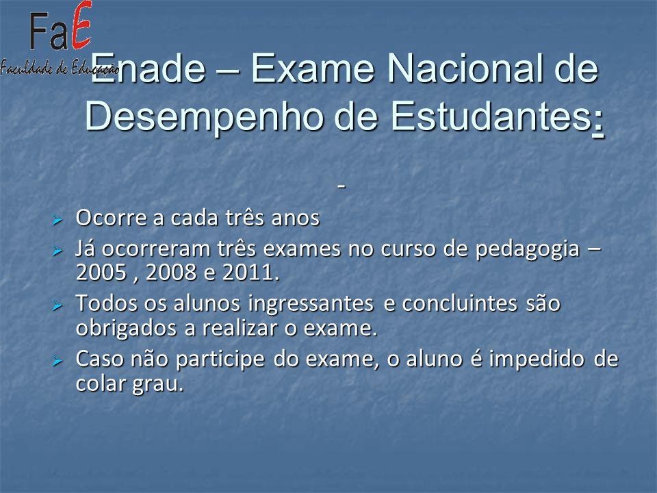 Enade – Exame Nacional de Desempenho de Estudantes : - Ocorre a cada três anos Ocorre a cada três anos Já ocorreram três exames no curso de pedagogia