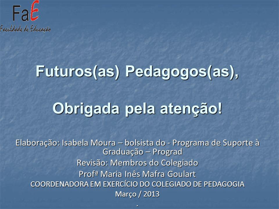 Futuros(as) Pedagogos(as), Obrigada pela atenção! Elaboração: Isabela Moura – bolsista do - Programa de Suporte à Graduação – Prograd Revisão: Membros