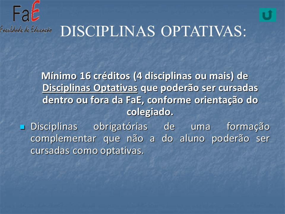 Mínimo 16 créditos (4 disciplinas ou mais) de Disciplinas Optativas que poderão ser cursadas dentro ou fora da FaE, conforme orientação do colegiado.