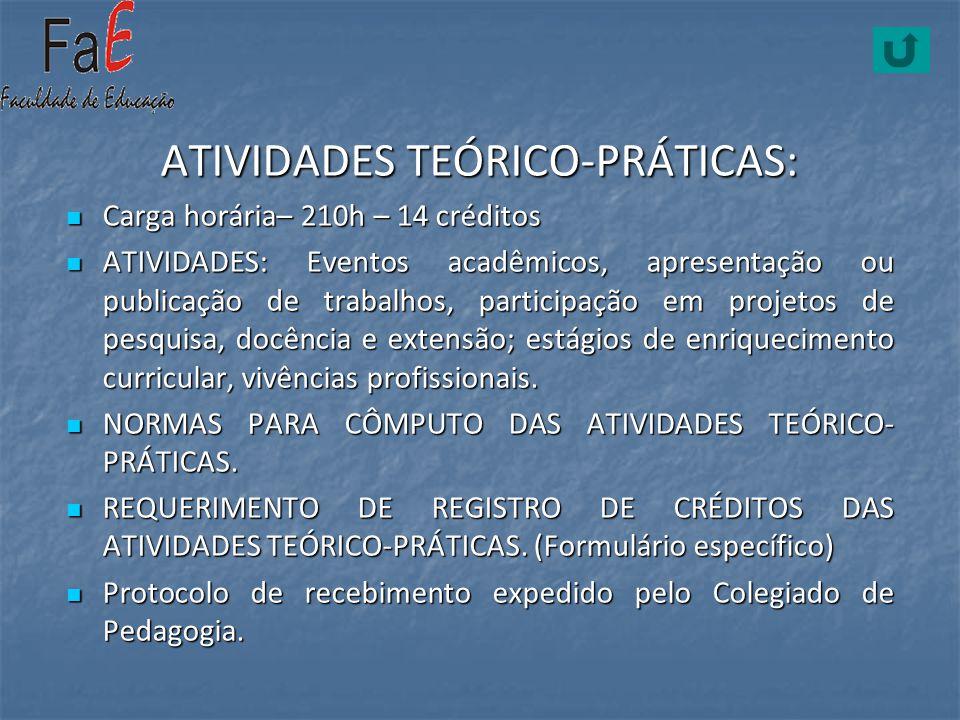 ATIVIDADES TEÓRICO-PRÁTICAS: Carga horária– 210h – 14 créditos Carga horária– 210h – 14 créditos ATIVIDADES: Eventos acadêmicos, apresentação ou publi
