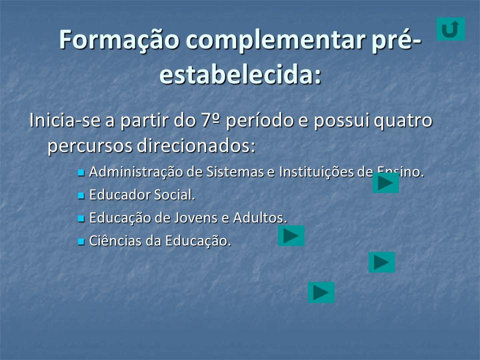 Formação complementar pré- estabelecida: Inicia-se a partir do 7º período e possui quatro percursos direcionados: Administração de Sistemas e Institui