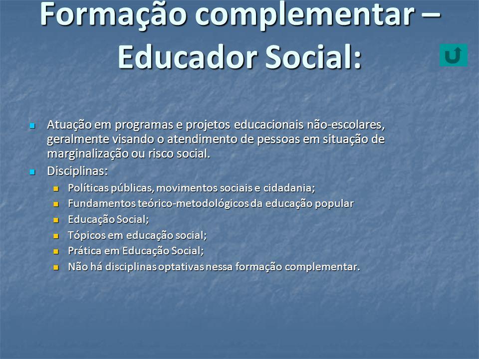 Formação complementar – Educador Social: Atuação em programas e projetos educacionais não-escolares, geralmente visando o atendimento de pessoas em si