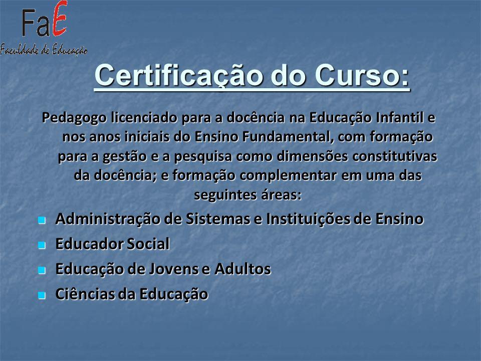 Certificação do Curso: Pedagogo licenciado para a docência na Educação Infantil e nos anos iniciais do Ensino Fundamental, com formação para a gestão