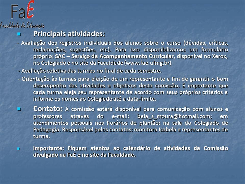 Principais atividades: Principais atividades: - Avaliação dos registros individuais dos alunos sobre o curso (dúvidas, críticas, reclamações, sugestõe