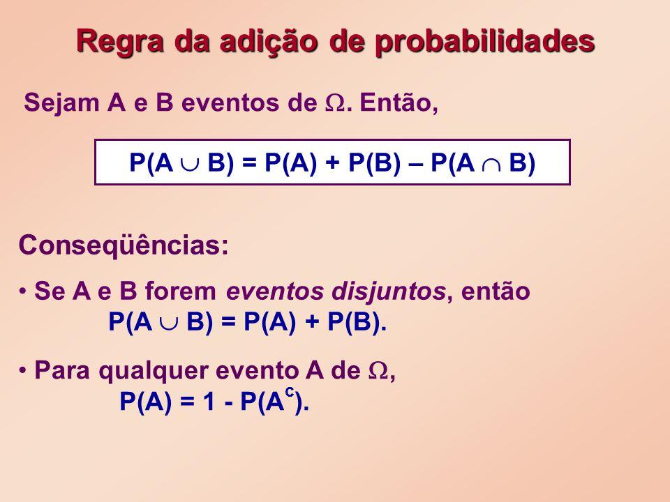 Sejam A e B eventos de.Então, Para qualquer evento A de, P(A) = 1 - P(A c ).