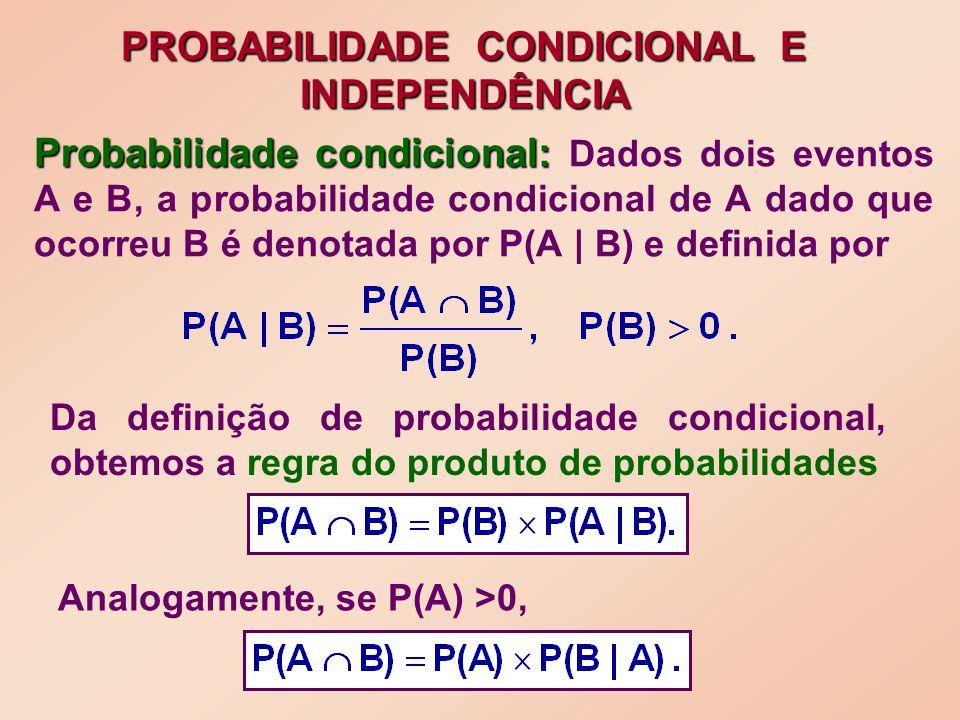 Probabilidade condicional: Probabilidade condicional: Dados dois eventos A e B, a probabilidade condicional de A dado que ocorreu B é denotada por P(A | B) e definida por PROBABILIDADE CONDICIONAL E INDEPENDÊNCIA Da definição de probabilidade condicional, obtemos a regra do produto de probabilidades Analogamente, se P(A) >0,