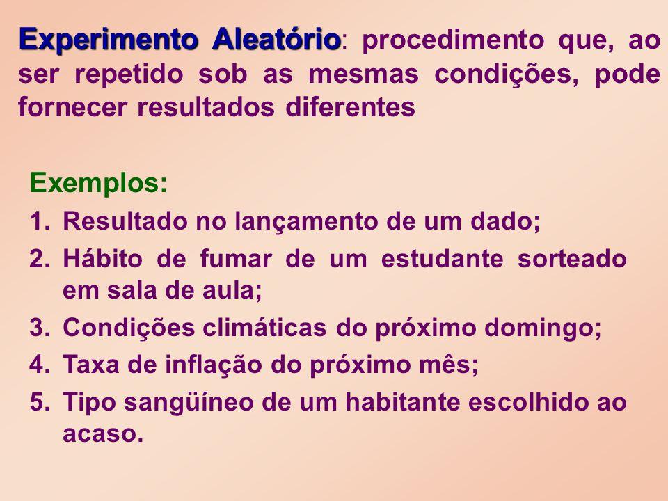 Exemplos: 1. 1.Resultado no lançamento de um dado; 2. 2.Hábito de fumar de um estudante sorteado em sala de aula; 3. 3.Condições climáticas do próximo