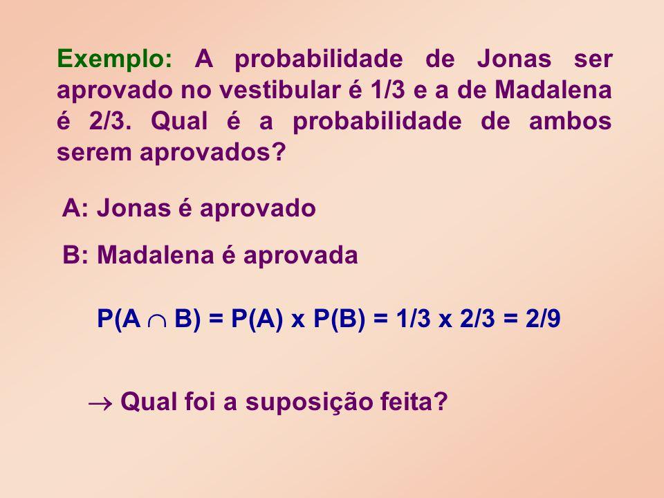 Exemplo: A probabilidade de Jonas ser aprovado no vestibular é 1/3 e a de Madalena é 2/3. Qual é a probabilidade de ambos serem aprovados? A: Jonas é