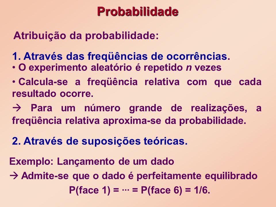 A probabilidade P(w) para cada ponto amostral de tal forma que: caso discreto modelo probabilístico No caso discreto, todo experimento aleatório tem seu modelo probabilístico especificado quando estabelecemos: O espaço amostral = {w 1,w 2,...