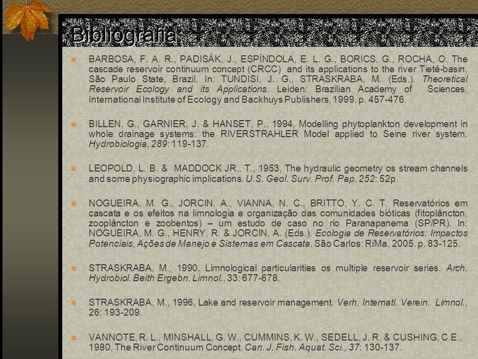 Bibliografia: BARBOSA, F.A. R., PADISÁK, J., ESPÍNDOLA, E.