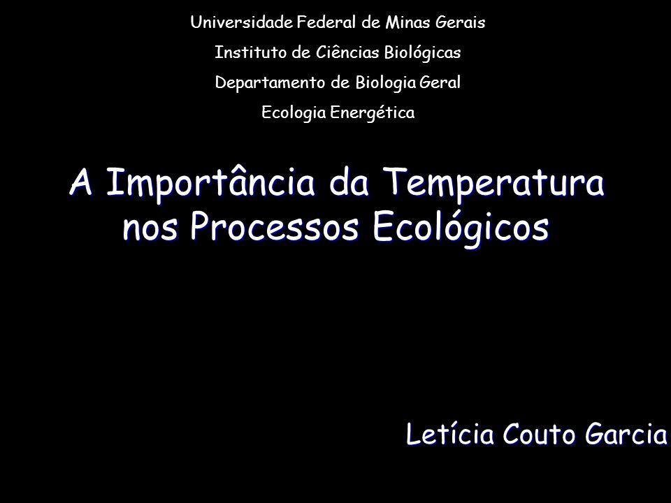 A Importância da Temperatura nos Processos Ecológicos Letícia Couto Garcia Universidade Federal de Minas Gerais Instituto de Ciências Biológicas Departamento de Biologia Geral Ecologia Energética