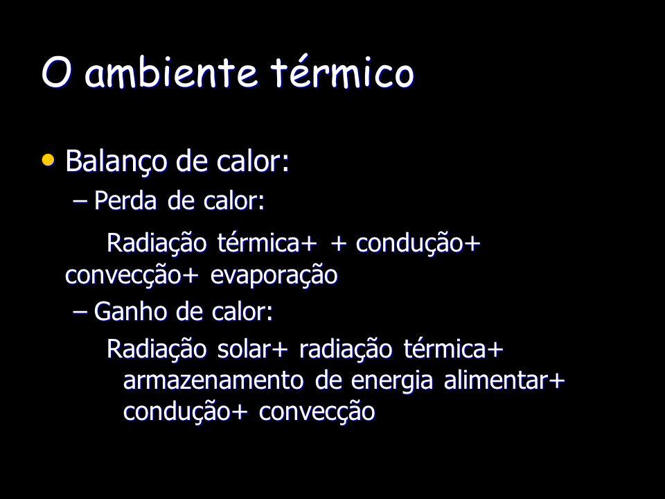 O ambiente térmico Balanço de calor: Balanço de calor: –Perda de calor: Radiação térmica+ + condução+ convecção+ evaporação –Ganho de calor: Radiação solar+ radiação térmica+ armazenamento de energia alimentar+ condução+ convecção