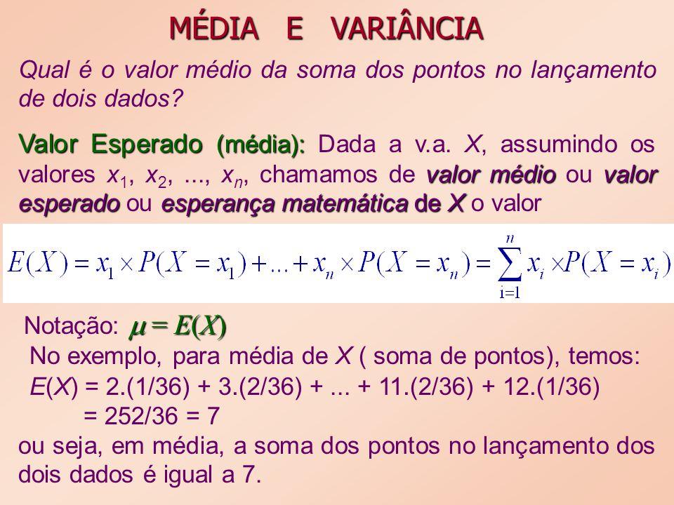 MÉDIA E VARIÂNCIA Qual é o valor médio da soma dos pontos no lançamento de dois dados? Valor Esperado (média): valor médiovalor esperadoesperança mate
