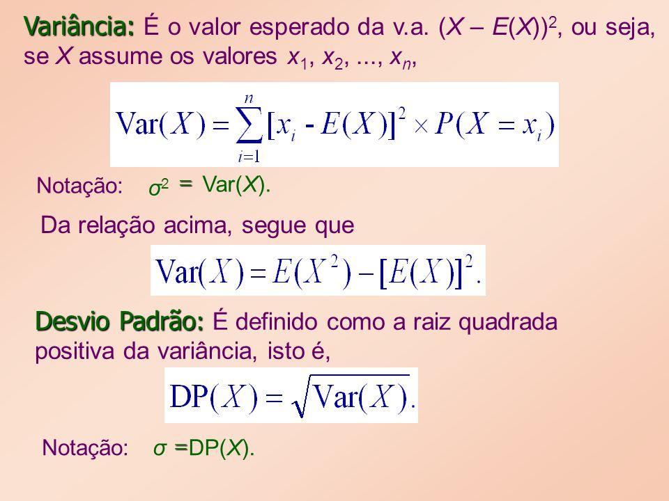Variância: Variância: É o valor esperado da v.a. (X – E(X)) 2, ou seja, se X assume os valores x 1, x 2,..., x n, Da relação acima, segue que Desvio P