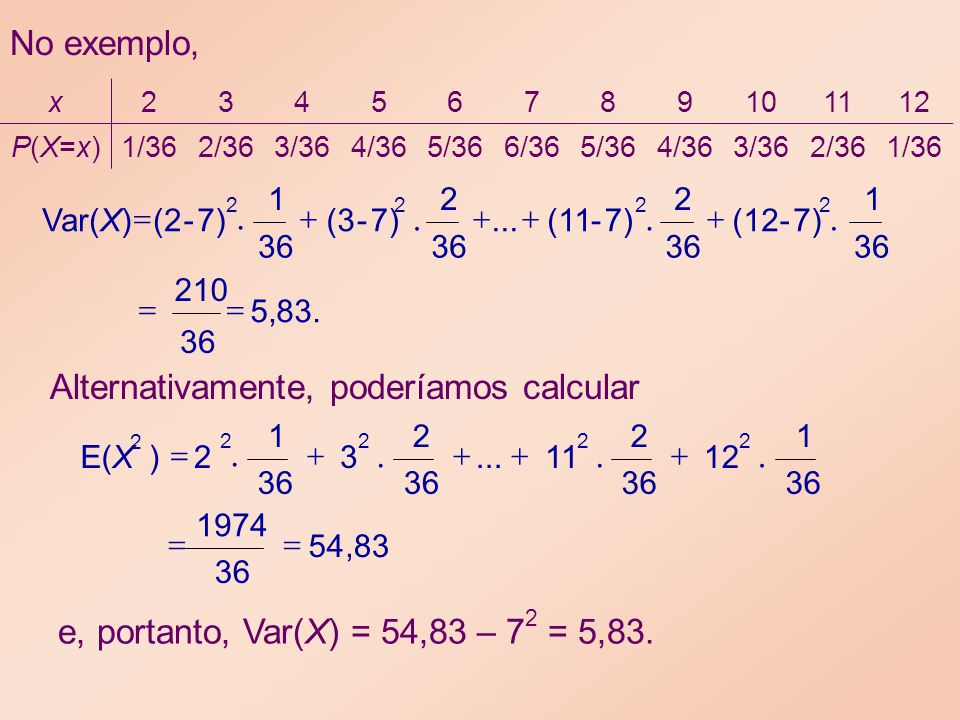 83.,5 36 210 36 1 7) - (12 36 2 7) - (11... 36 2 7) - (3 36 1 7) - (2 Var(X) 2222 No exemplo, 83,54 36 1974 36 1 12 36 2 11... 36 2 3 1 2 )E(X 2222 2