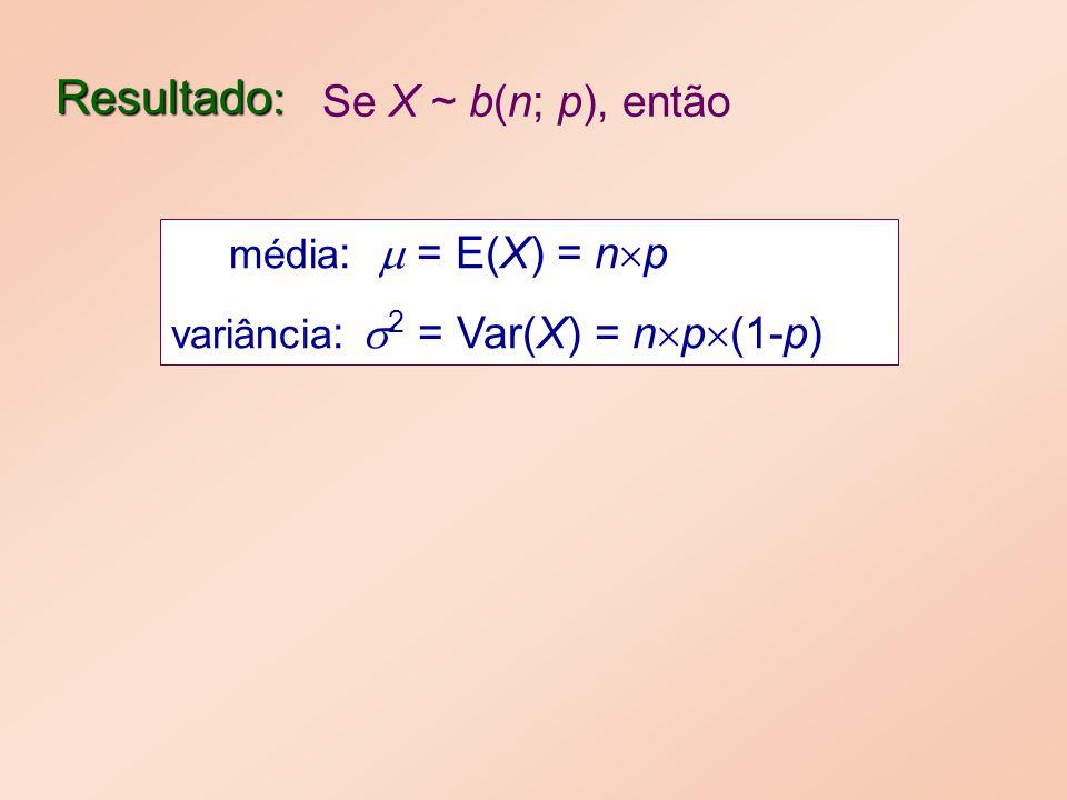 Resultado : média : = E(X) = n p variância : 2 = Var(X) = n p (1-p) Se X ~ b(n; p), então