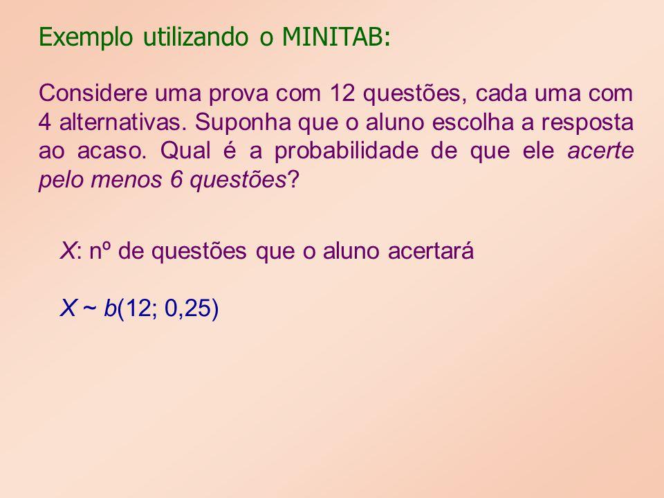 Exemplo utilizando o MINITAB: Considere uma prova com 12 questões, cada uma com 4 alternativas. Suponha que o aluno escolha a resposta ao acaso. Qual
