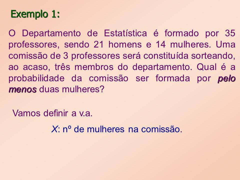 x0123 P(X=x)0,2030,4500,2910,056 Assim, P (X 2) = P(X=2) + P(X=3) = 0,291 + 0,056 = 0,347.