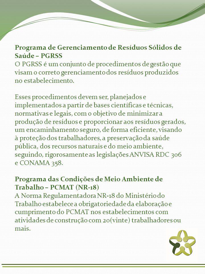 Programa de Gerenciamento de Resíduos Sólidos de Saúde – PGRSS O PGRSS é um conjunto de procedimentos de gestão que visam o correto gerenciamento dos