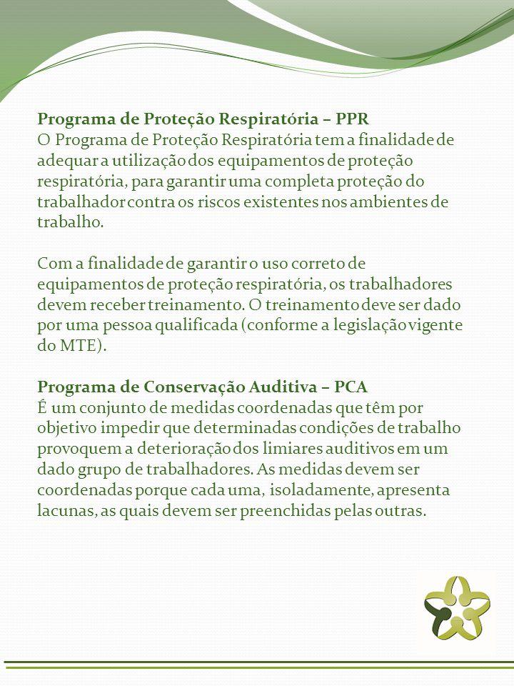 Programa de Proteção Respiratória – PPR O Programa de Proteção Respiratória tem a finalidade de adequar a utilização dos equipamentos de proteção resp