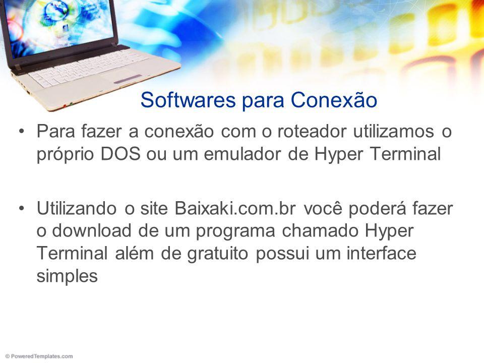 Softwares para Conexão Para fazer a conexão com o roteador utilizamos o próprio DOS ou um emulador de Hyper Terminal Utilizando o site Baixaki.com.br