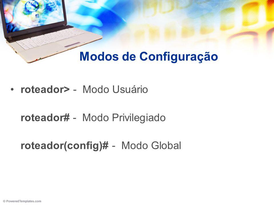 Modos de Configuração roteador> - Modo Usuário roteador# - Modo Privilegiado roteador(config)# - Modo Global