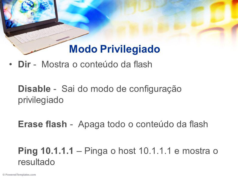 Modo Privilegiado Dir - Mostra o conteúdo da flash Disable - Sai do modo de configuração privilegiado Erase flash - Apaga todo o conteúdo da flash Pin