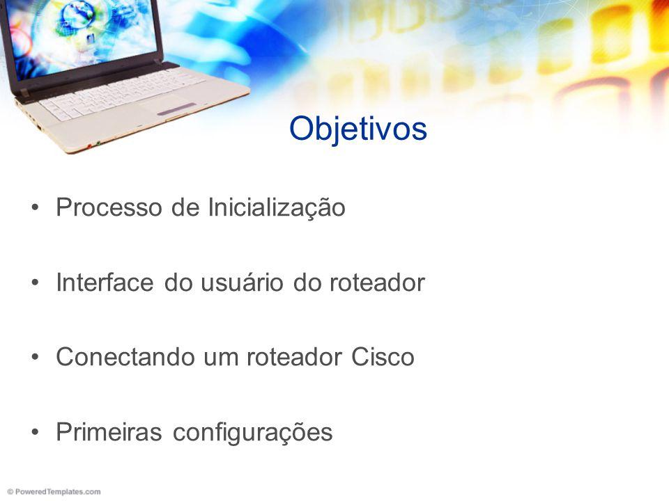 Objetivos Processo de Inicialização Interface do usuário do roteador Conectando um roteador Cisco Primeiras configurações