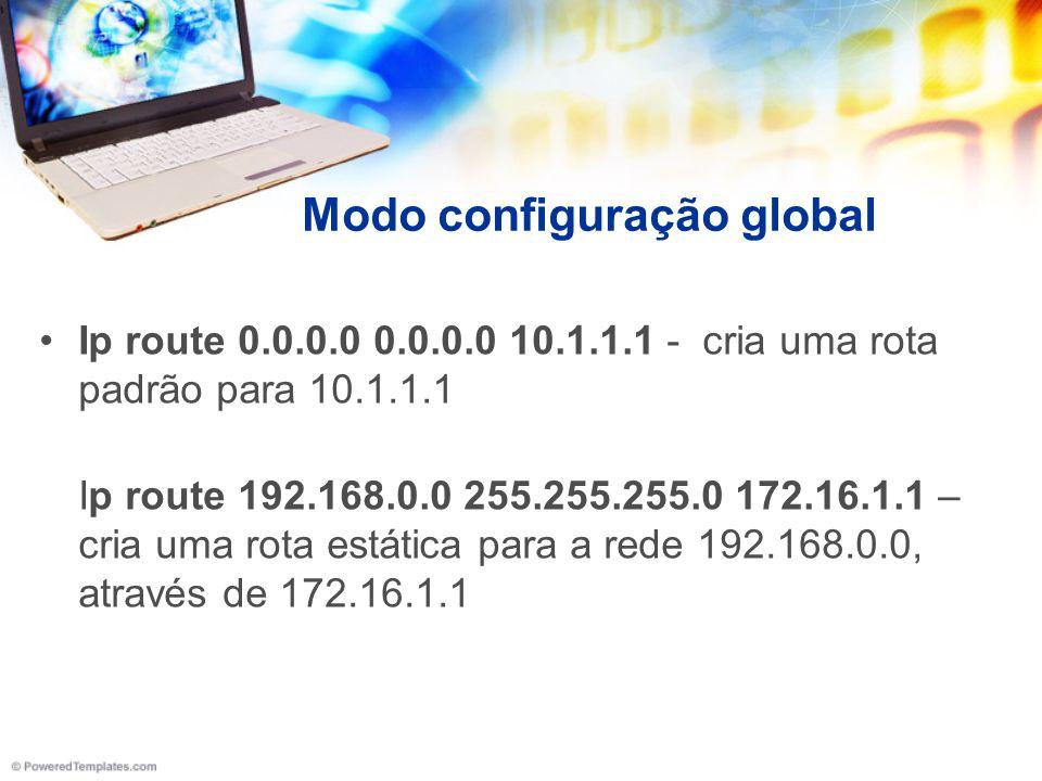 Modo configuração global Ip route 0.0.0.0 0.0.0.0 10.1.1.1 - cria uma rota padrão para 10.1.1.1 Ip route 192.168.0.0 255.255.255.0 172.16.1.1 – cria u