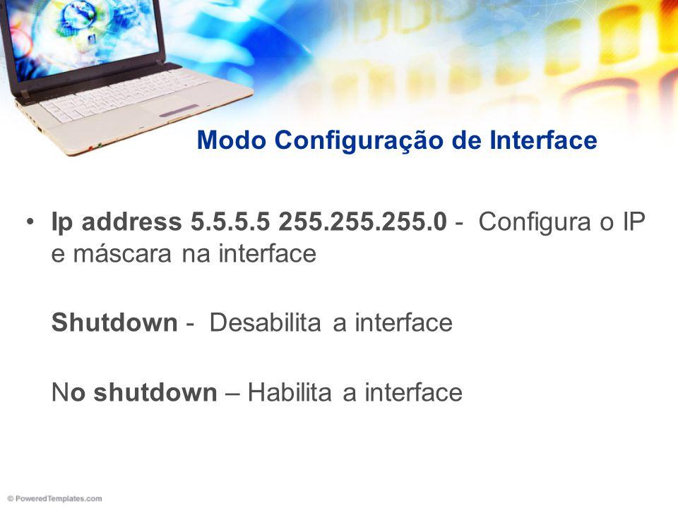 Modo Configuração de Interface Ip address 5.5.5.5 255.255.255.0 - Configura o IP e máscara na interface Shutdown - Desabilita a interface No shutdown
