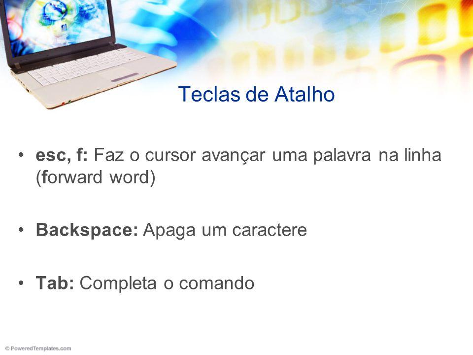 Teclas de Atalho esc, f: Faz o cursor avançar uma palavra na linha (forward word) Backspace: Apaga um caractere Tab: Completa o comando