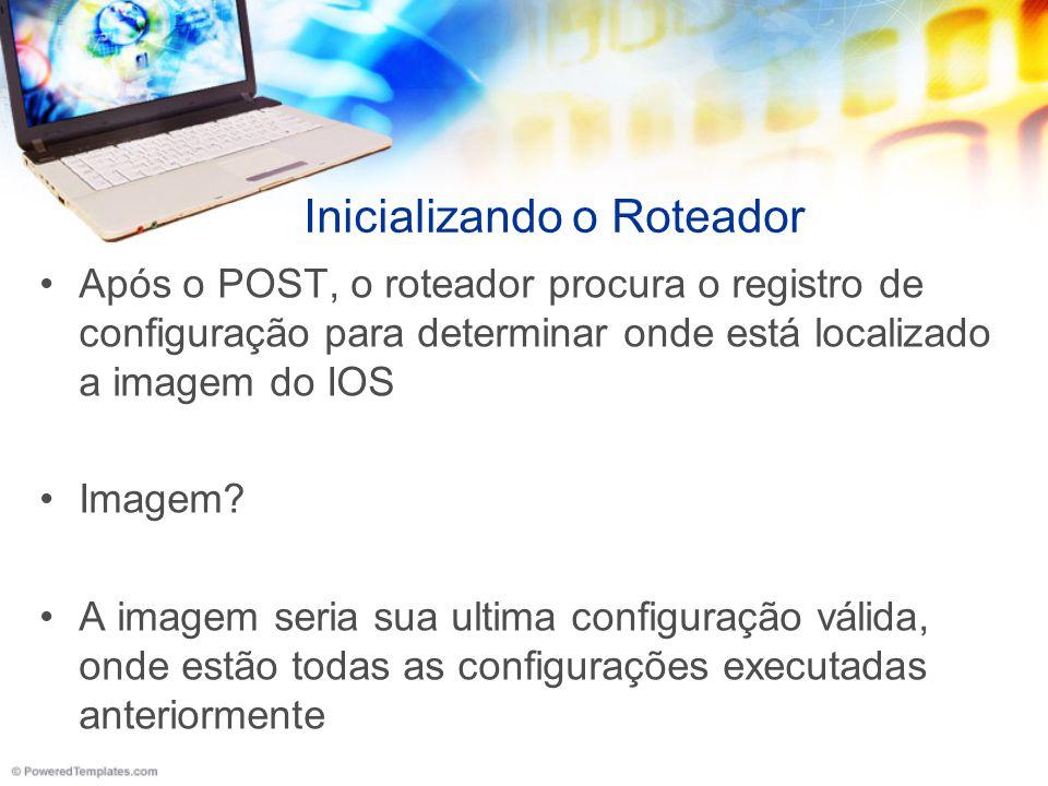 Após o POST, o roteador procura o registro de configuração para determinar onde está localizado a imagem do IOS Imagem? A imagem seria sua ultima conf