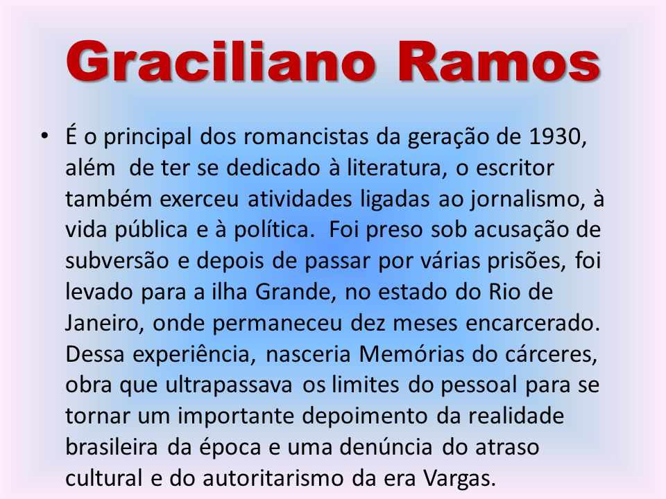 Graciliano Ramos É o principal dos romancistas da geração de 1930, além de ter se dedicado à literatura, o escritor também exerceu atividades ligadas ao jornalismo, à vida pública e à política.