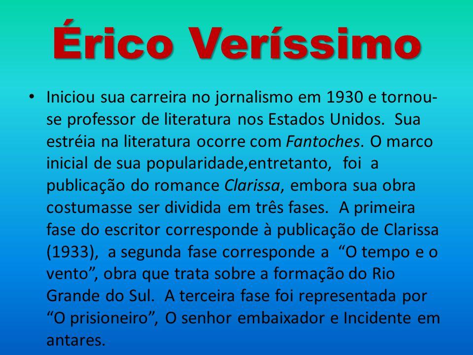 Érico Veríssimo Iniciou sua carreira no jornalismo em 1930 e tornou- se professor de literatura nos Estados Unidos. Sua estréia na literatura ocorre c