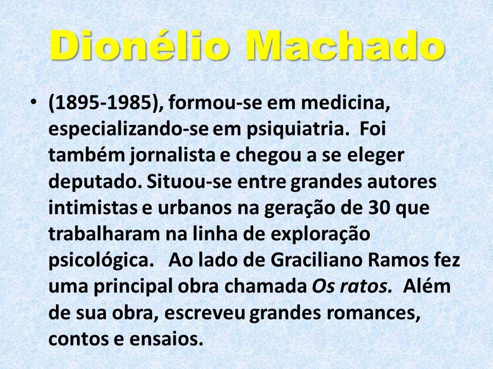 Dionélio Machado (1895-1985), formou-se em medicina, especializando-se em psiquiatria. Foi também jornalista e chegou a se eleger deputado. Situou-se