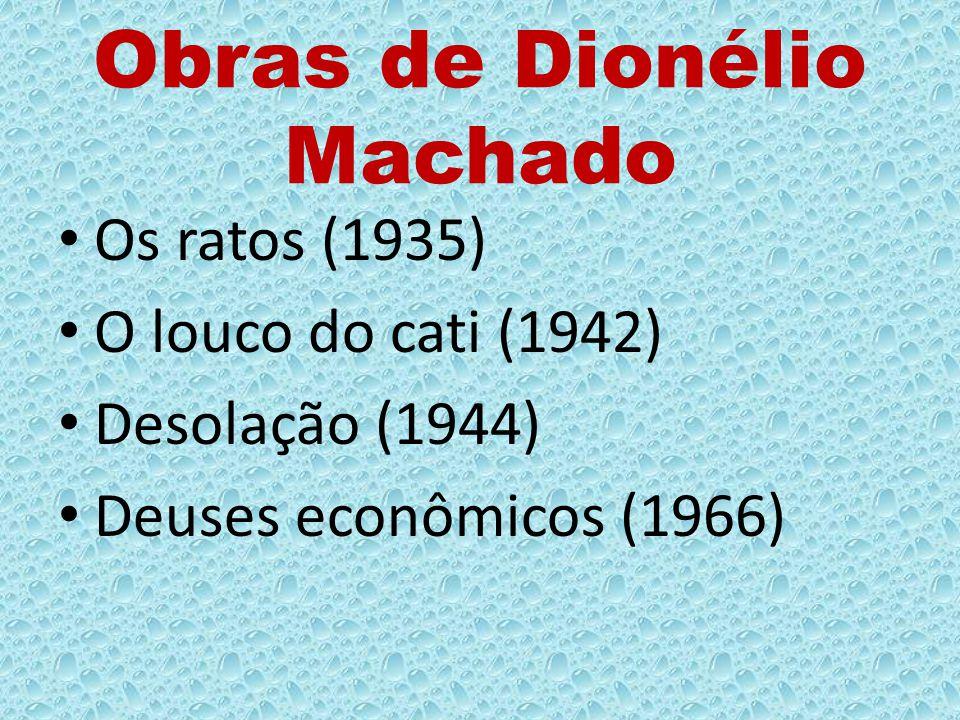Obras de Dionélio Machado Os ratos (1935) O louco do cati (1942) Desolação (1944) Deuses econômicos (1966)