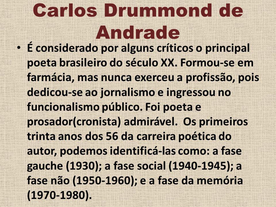 Carlos Drummond de Andrade É considerado por alguns críticos o principal poeta brasileiro do século XX. Formou-se em farmácia, mas nunca exerceu a pro